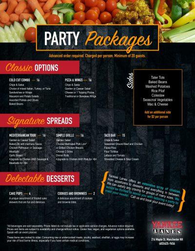 buffet party menu 9:19 manch