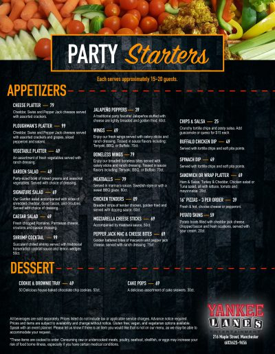 party menu 9:19 manch